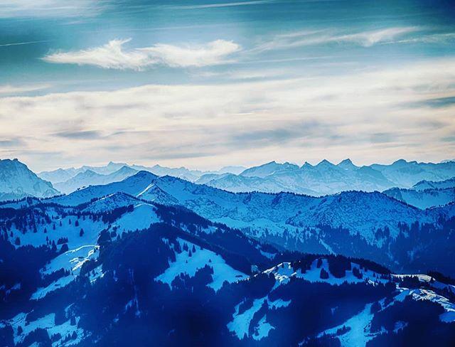 Die Allgäuer Alpen vom Grünten aus gesehen.
