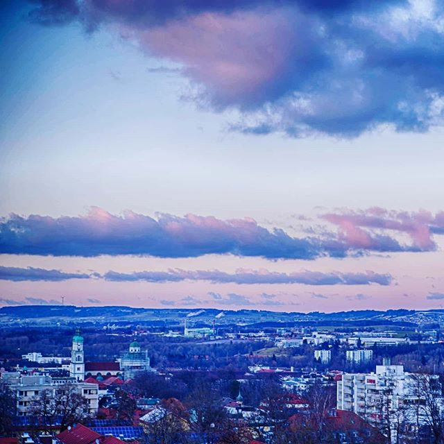 Abendhimmel über Kempten. - winter, basilika, Abendhimmel