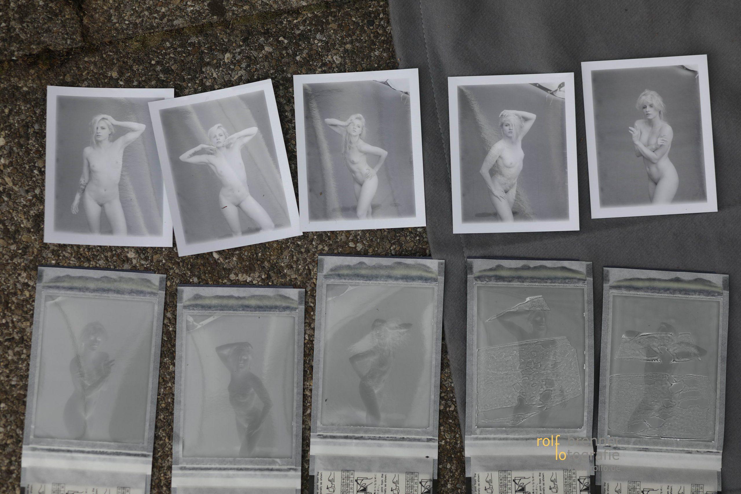 Polaroids Sofortbild Positiv und Negativ von Aktaufnahmen