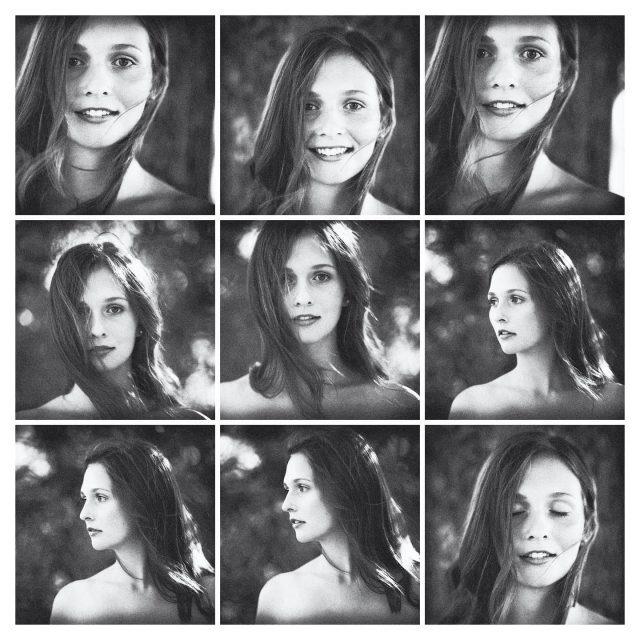 Schwarz-weiß Portrait einer jungen Frau.