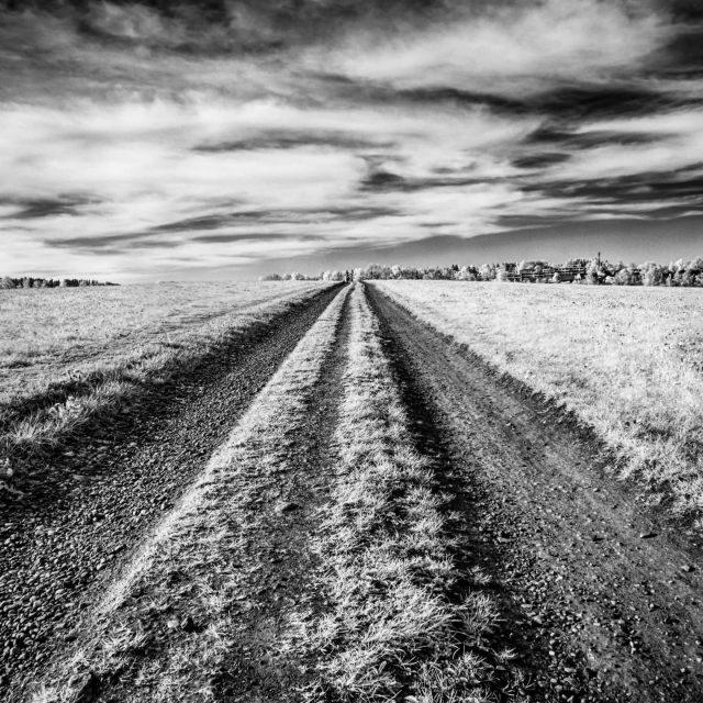 Feldweg in der Dreifaltigkeit Kempten. - schwarzweiss, kempten, dreifaltigkeit, perspektive, Feldweg