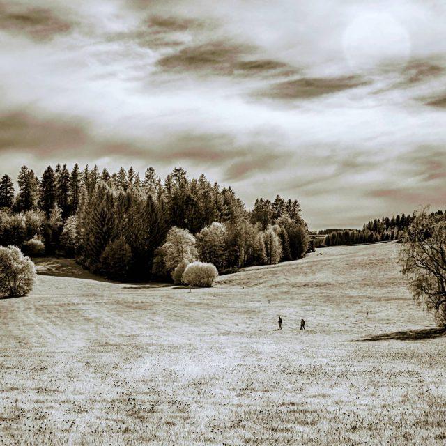 Landschaft in der Dreifaltigkeit mit zwei Personen.