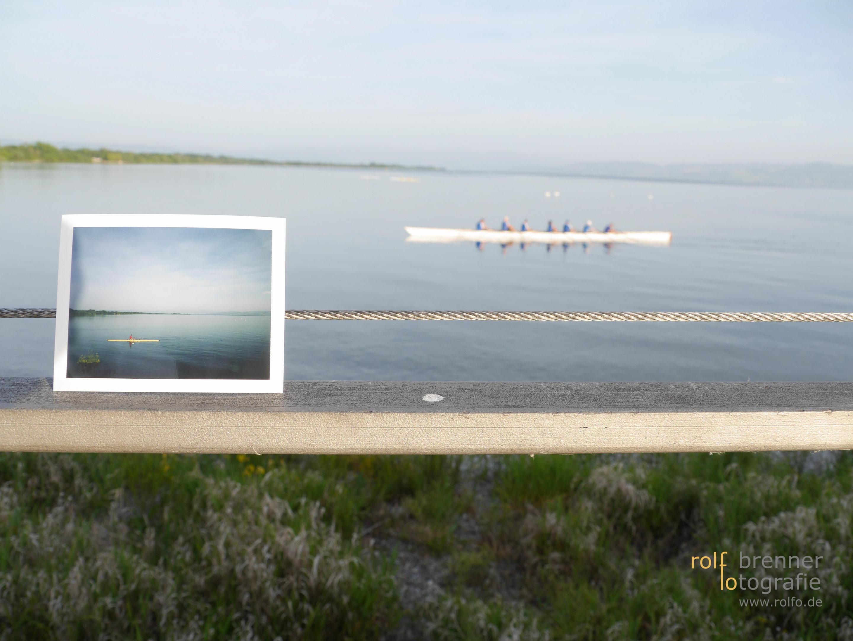 Einer und Sechser Ruderboot auf dem Bodensee